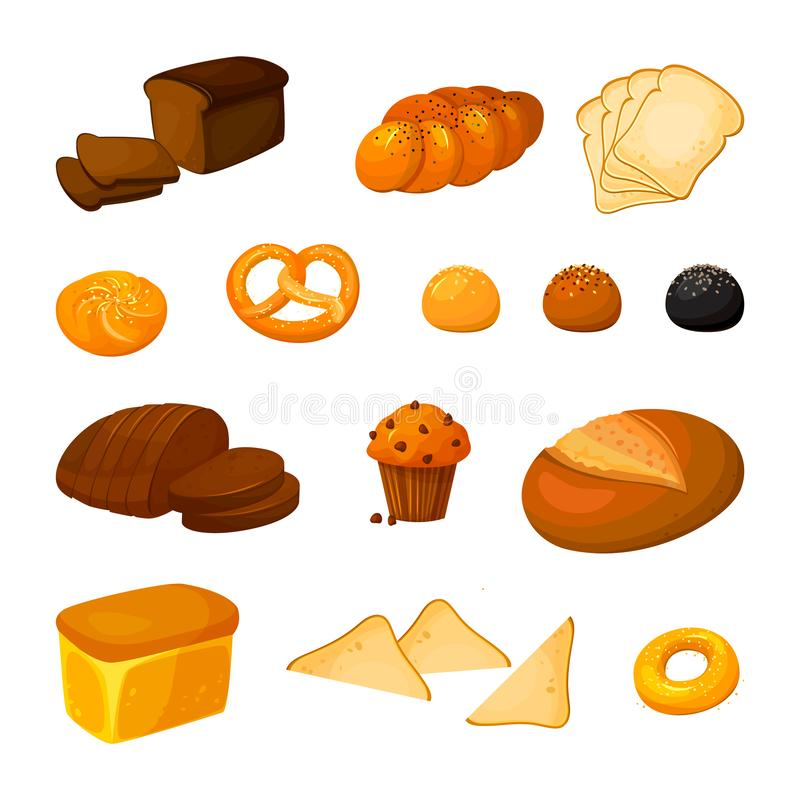 Vector set of different kinds of bread. Cartoon style royalty free stock images