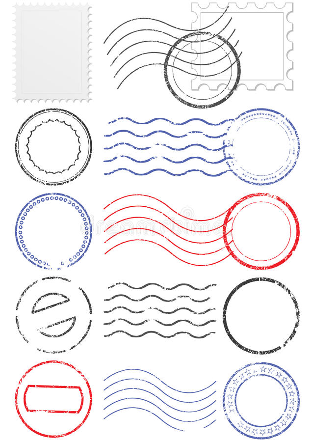 Vector set of different postmark and stamps. vector illustration
