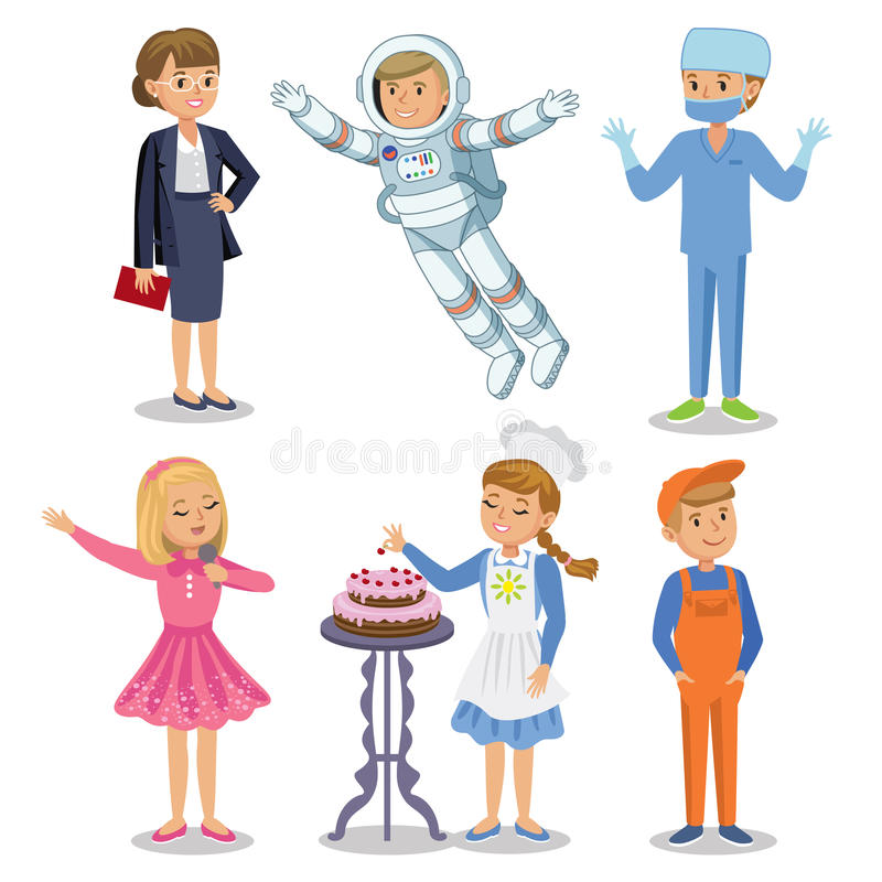 Vector Set of different professions. Kids profession royalty free illustration