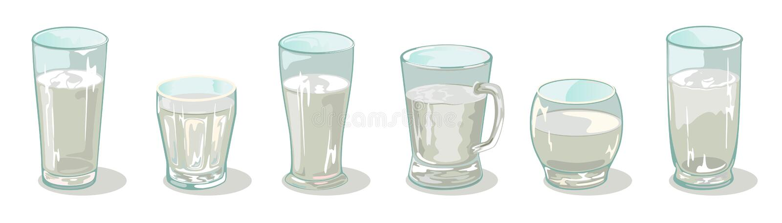 Vector set of different sized, shapes and heights glassware in line. Transparent cups, glasses, mug. royalty free illustration