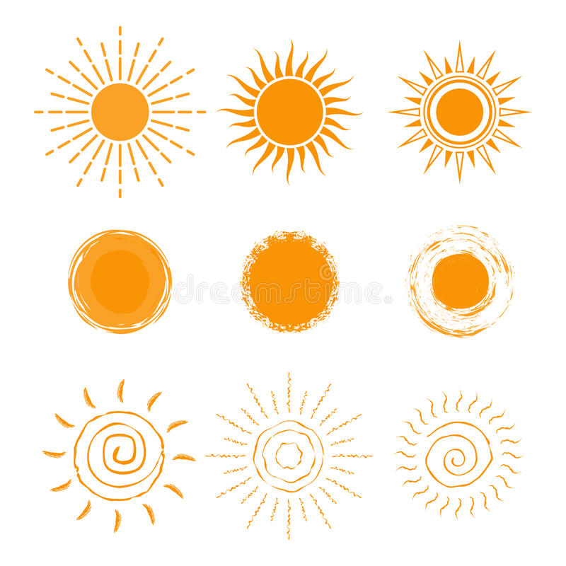 Vector set of different sun icon. New sun icon collection. Isolated on white background. vector illustration