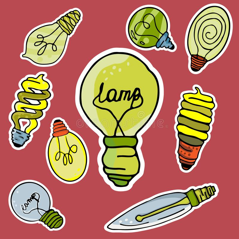 Vector set of stickers in the form of bulbs royalty free illustration