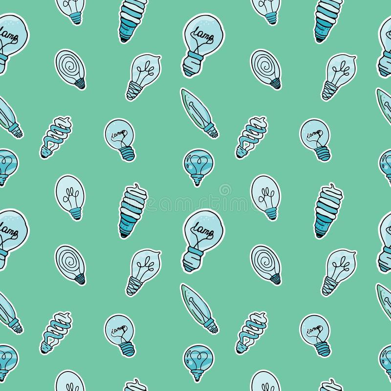 Vector set of stickers in the form of bulbs stock illustration