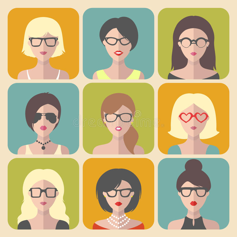 Vector Set Of Hipster Style Haircut, Glasses Stock Vector