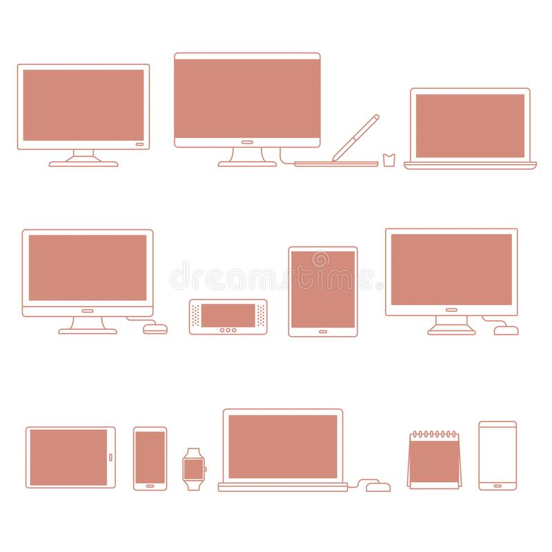 Vector set of digital devices vector illustration