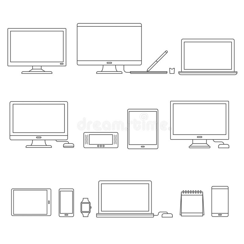 Vector set of digital devices royalty free illustration