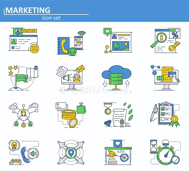 Vector set of digital and social media marketing and advertisement icons in thin line style. Website UI and mobile web royalty free illustration