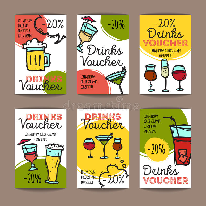 Vector set of discount coupons for beverages. Colorful doodle style alcohol drinks voucher templates. Cocktail bar promo royalty free illustration