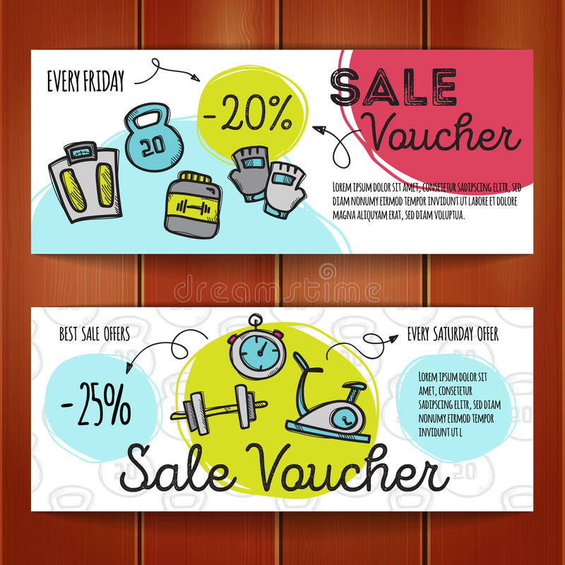 Vector set of discount coupons for sport accessories colorful doodle style voucher templates - Houseplanscom discount code set ...
