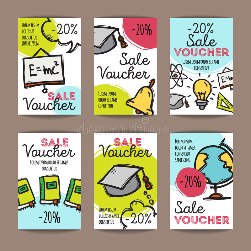 Vector set of discount coupons for stationary accessories. Colorful doodle style voucher templates. Back to school promo. Vector set of discount coupons for royalty free illustration