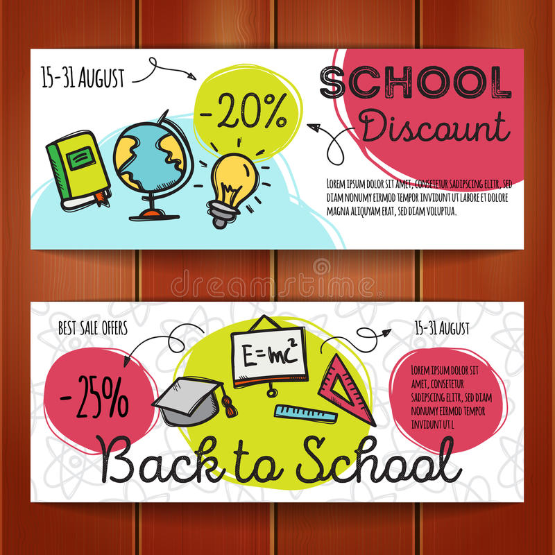 Vector set of discount coupons for stationary accessories. Colorful doodle style voucher templates. Back to school promo. Vector set of discount coupons for vector illustration