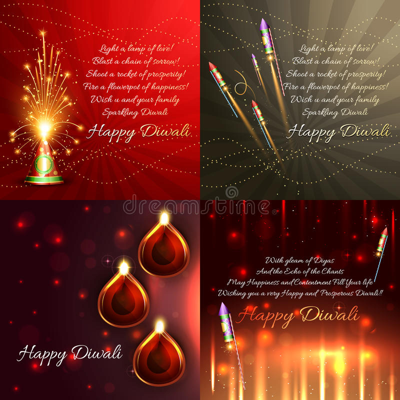 Vector set of diwali background royalty free illustration