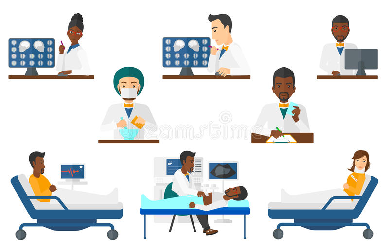 Vector set of doctor characters and patients. stock illustration