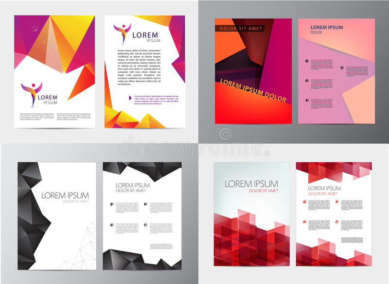 Vector set of document, letter or logo style cover brochure and letterhead template design mockup for business stock illustration