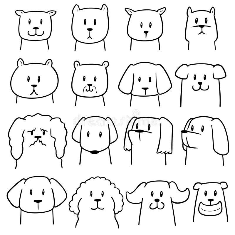 Vector set of dog. Hand drawn cartoon, doodle illustration vector illustration
