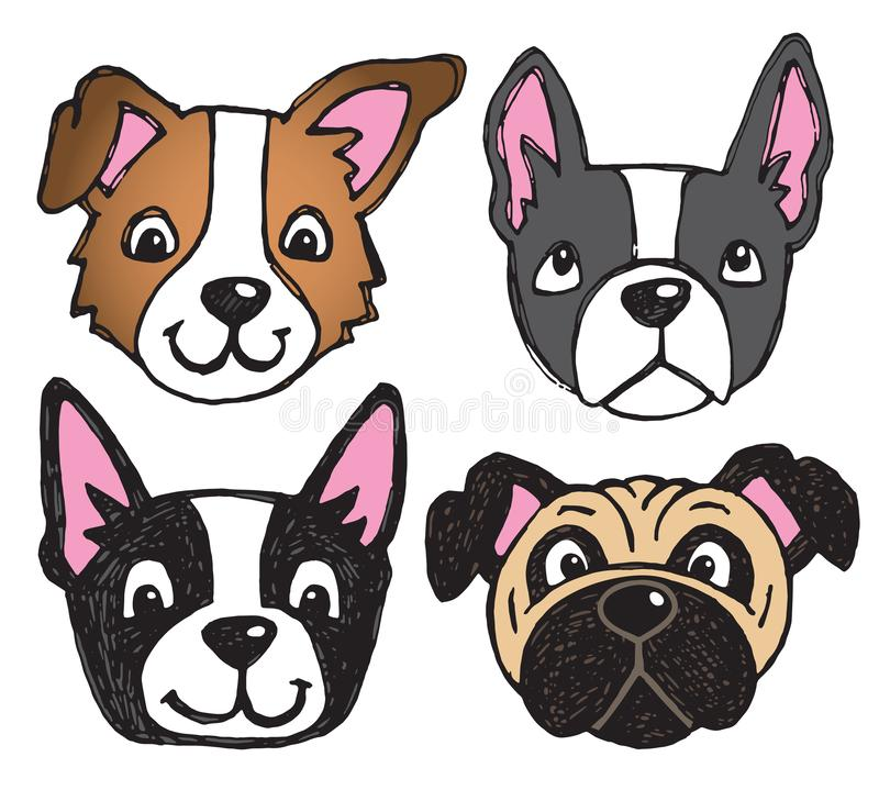 Quirky Dog Faces. A vector set of 4 dog`s faces drawn in a scratchy style stock illustration
