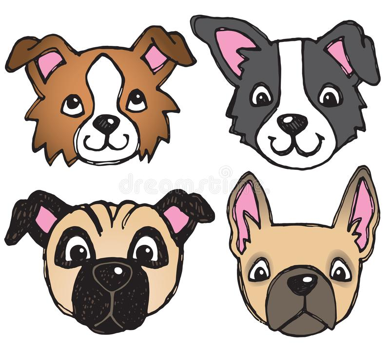 Quirky Dog Faces. A vector set of 4 dog`s faces drawn in a scratchy style royalty free illustration