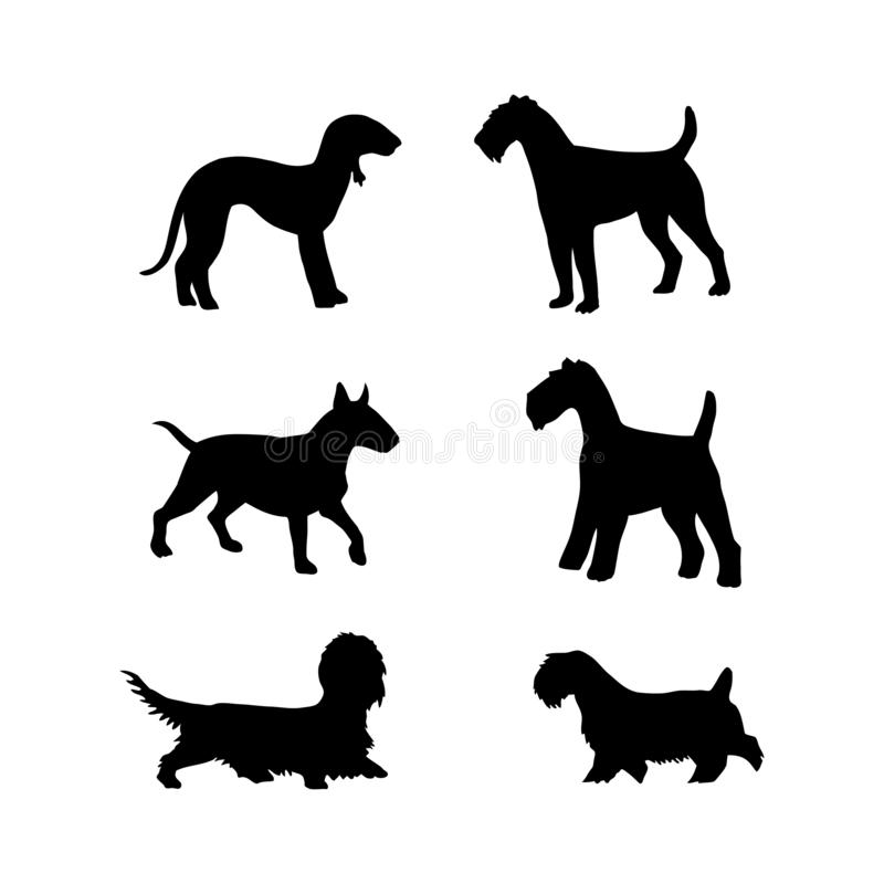 Vector set of dogs silhouette for design royalty free stock image