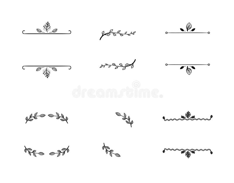 Vector Set of Doodle Floral Frames, Vignettes, Black Lines Isolated on White Background. royalty free illustration