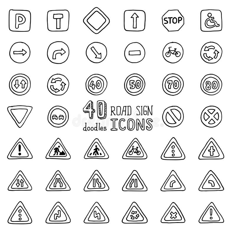 Vector set of doodles road sign icons. vector illustration