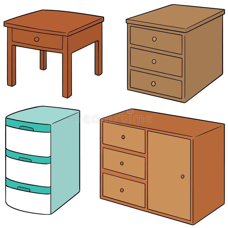 Vector set of drawer. Hand drawn cartoon, doodle illustration vector illustration