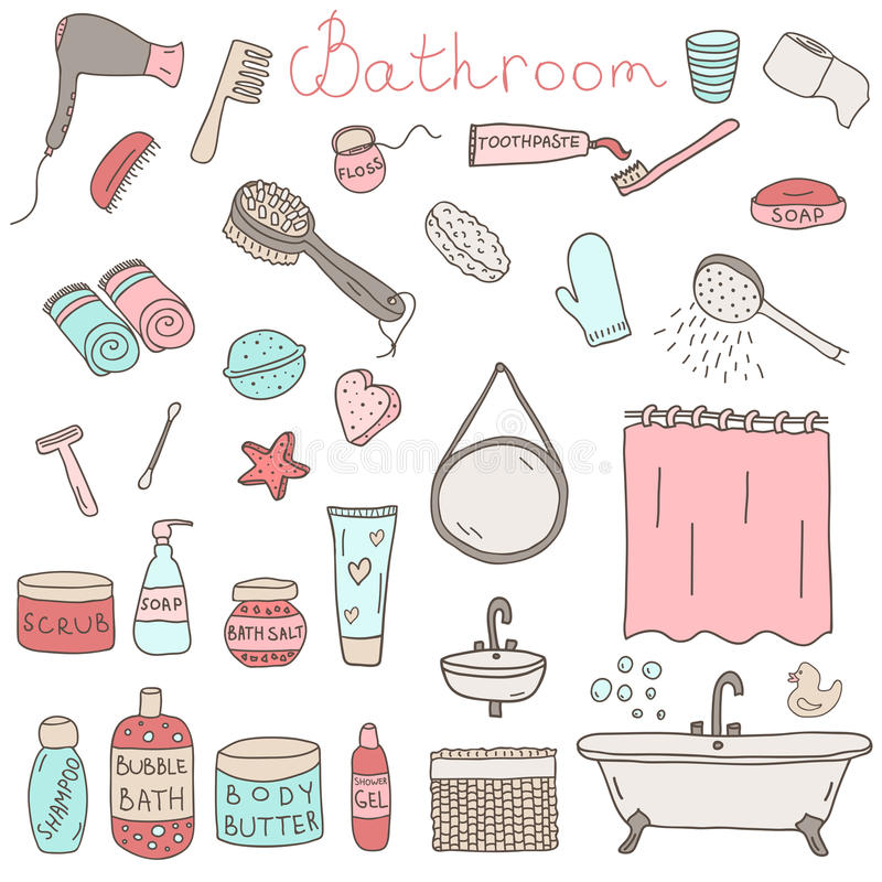 Vector set of drawn bathroom themed objects and appliances stock illustration