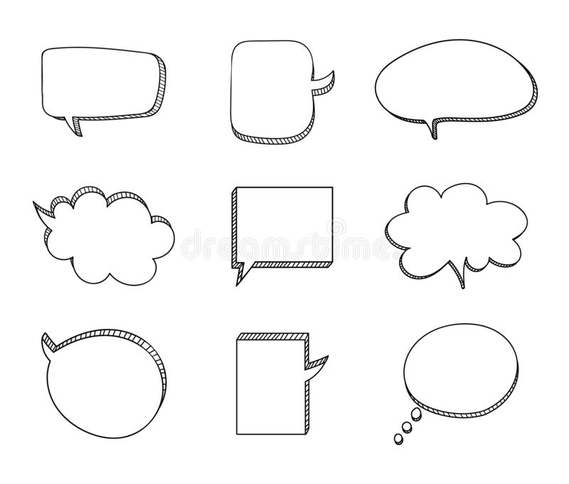 Vector Set of Drawn 3D Talk Bubbles, Black Drawings, Isolated Frames. vector illustration