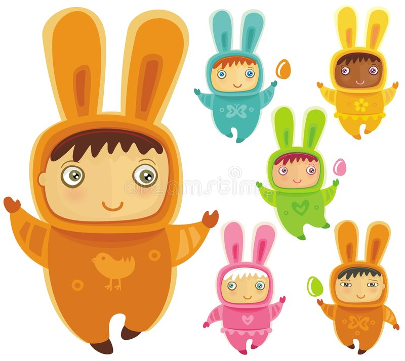 Vector set of easter bunnies. A cute little babies dressed as an Easter Bunnies with Easter eggs vector illustration