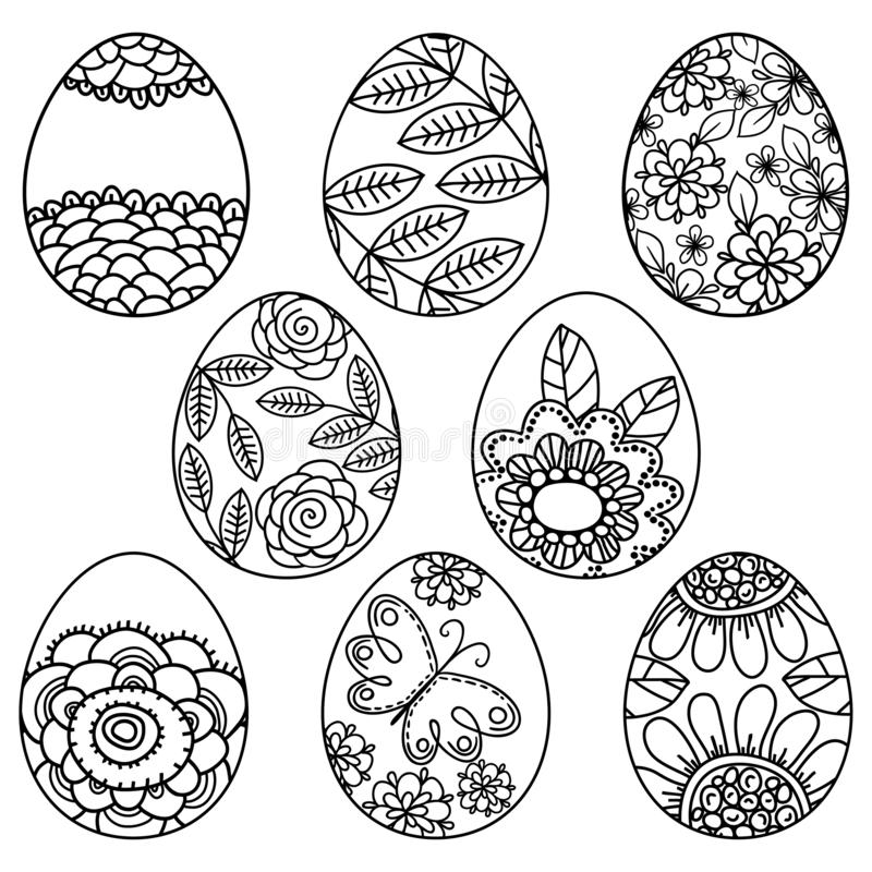 Vector set of easter eggs with floral pattern for coloring book. Hand-drawn decorative elements in vector. Black and white. vector illustration