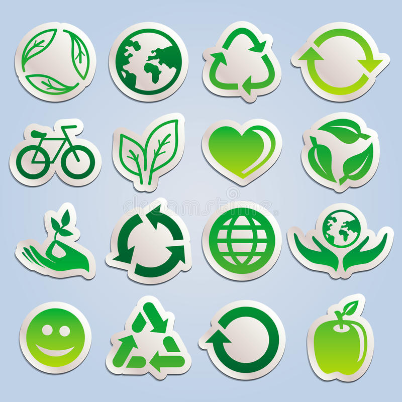 Download Vector Set With Ecology Stickers Stock Vector - Image: 29408044