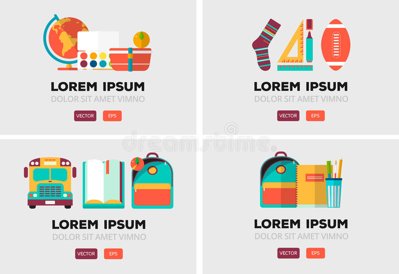 Vector set of education logos in flat style. Colorful back to school emblem. Design elements stock illustration