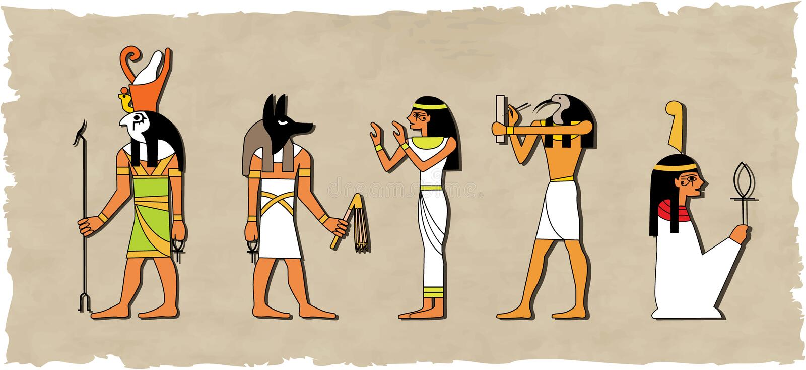 The vector set of egyptian god vector illustration