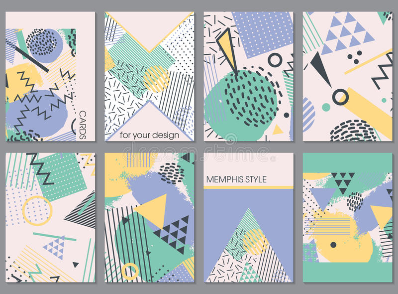 Vector set of eight cards in memphis style with simple shapes. stock illustration
