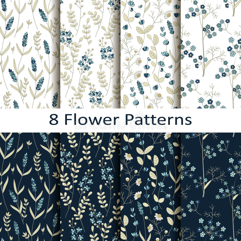 Vector set of eight seamless vector flower patterns royalty free illustration
