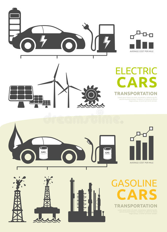 Vector Set For Electric And Gasoline Powered Cars Stock Vector