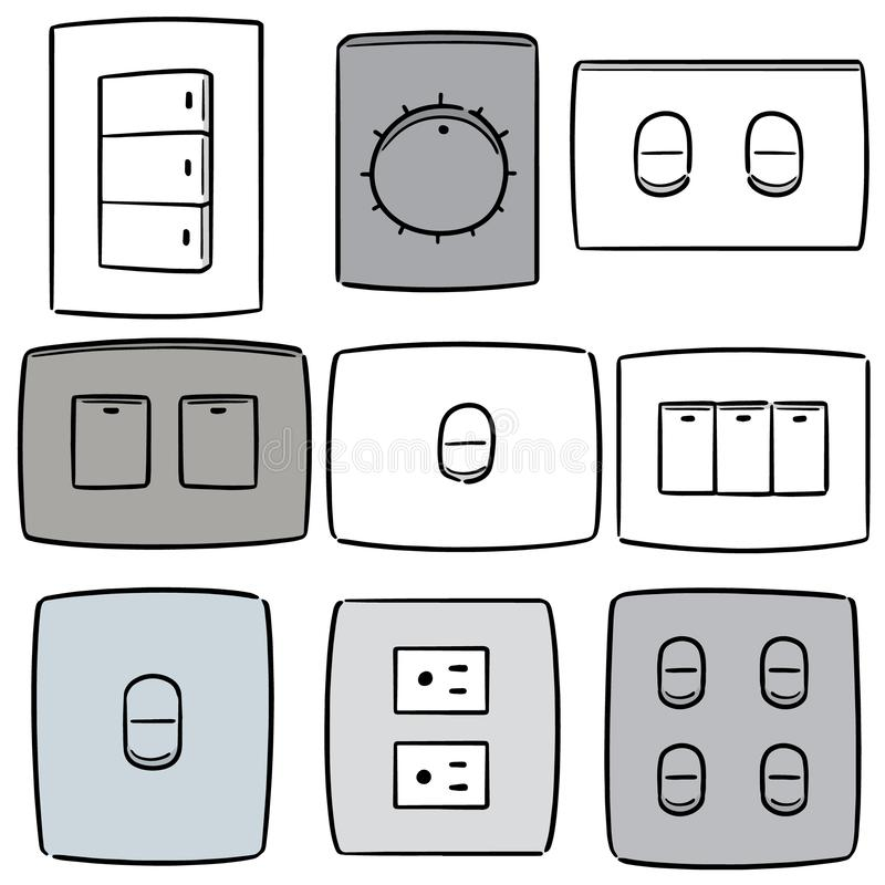 Vector set of electric switch and plug stock illustration