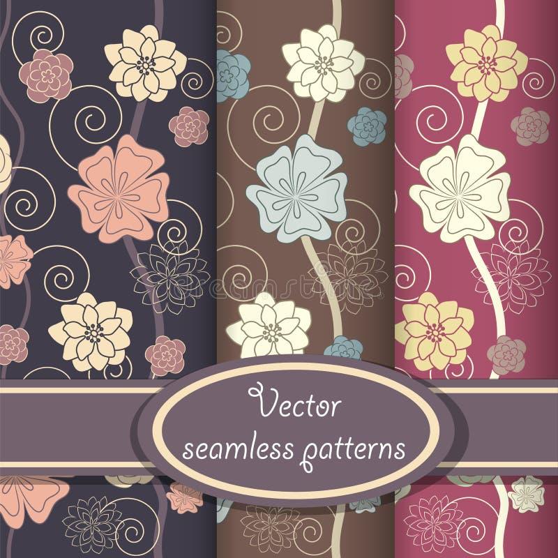 Vector set of elegant floral patterns stock illustration