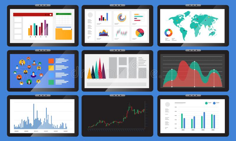 Various monitors display graphs and charts. In business analysis. Vector set element various monitors display graphs and charts. In business analysis. Vector vector illustration