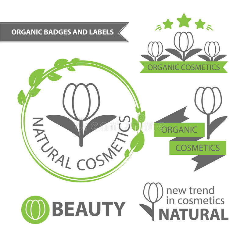 Vector set emblems of natural and organic cosmetics. Organic badges and labels. Vector illustration stock illustration