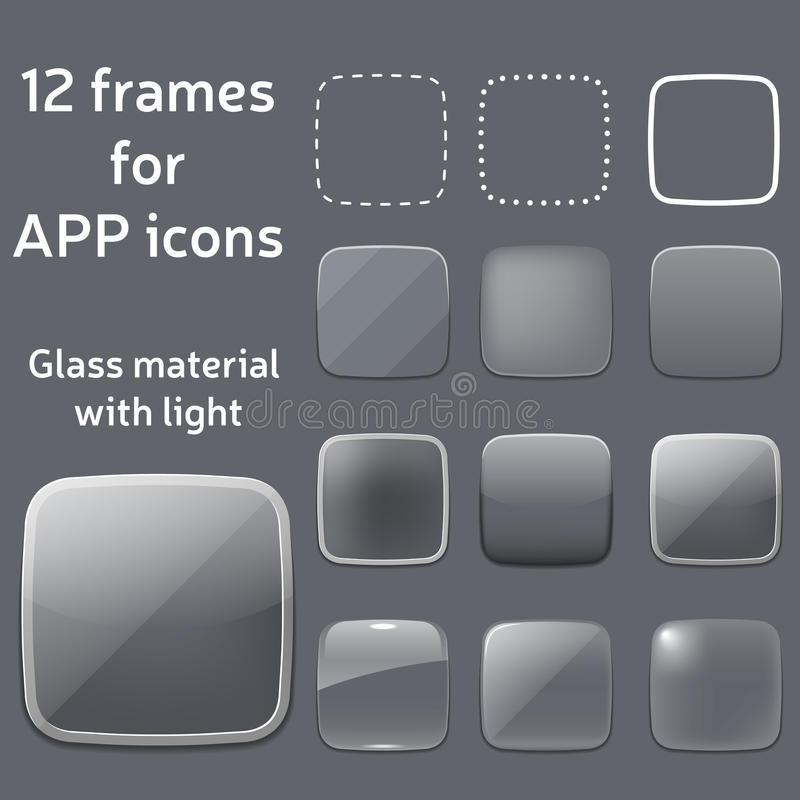 Vector Set Of Empty Glass Frames For App Icons Stock Vector ...