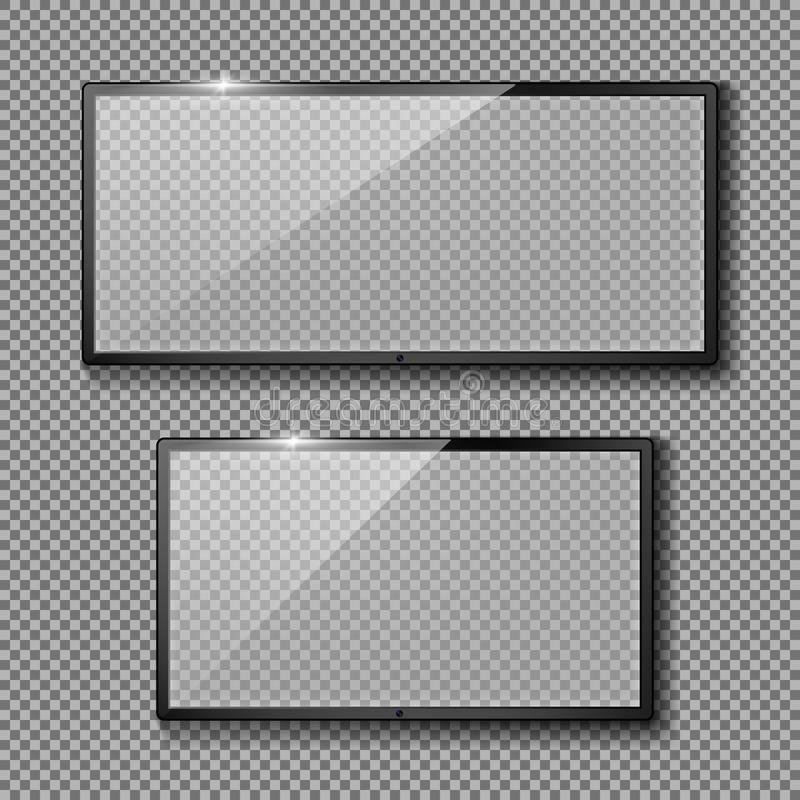 Vector set with empty TV frames, flat lcd screens vector illustration