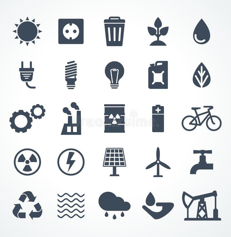 Vector set of energy black icon stock illustration