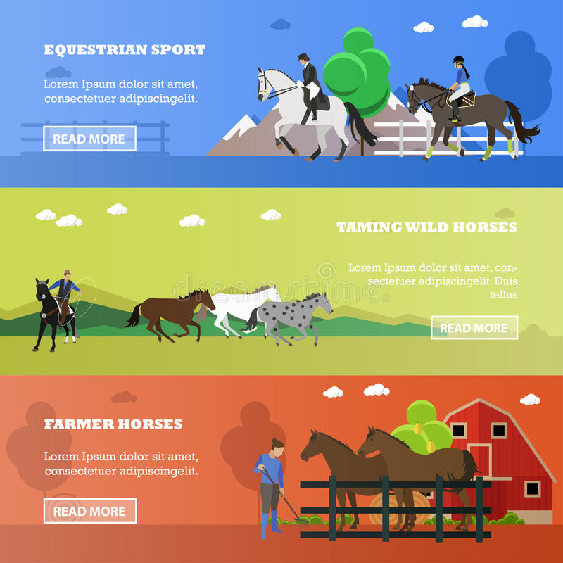 Vector set of equestrian sport, taming horses, farming concept banners royalty free illustration