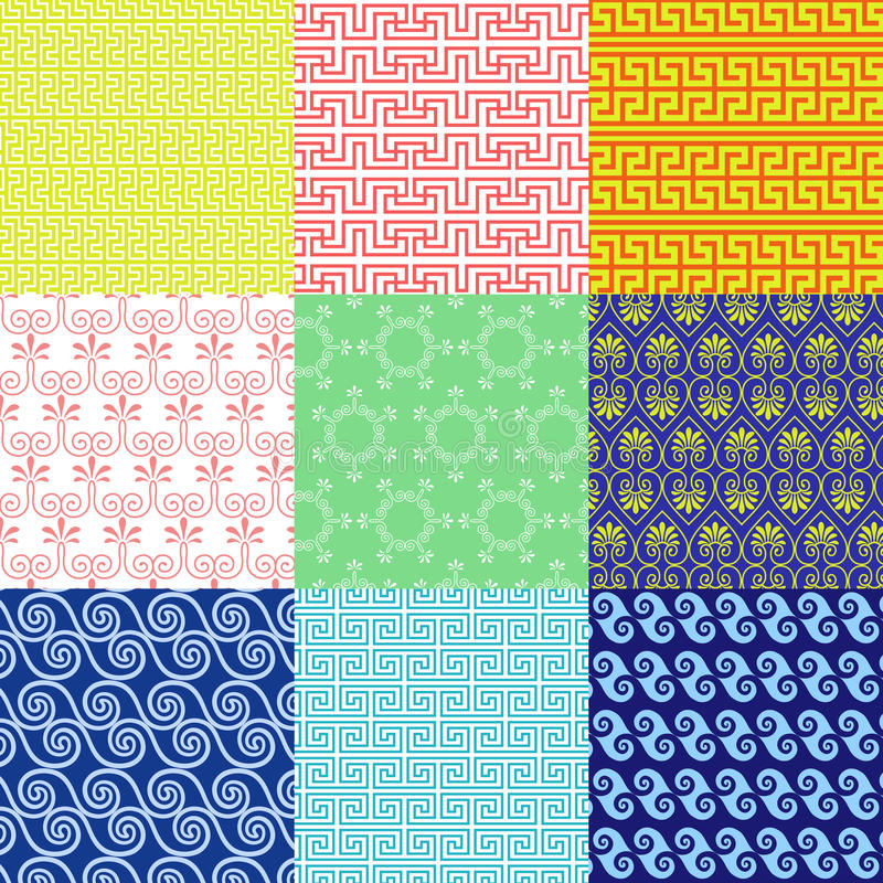 Vector set of ethnic Greek geometric and floral patterns royalty free illustration