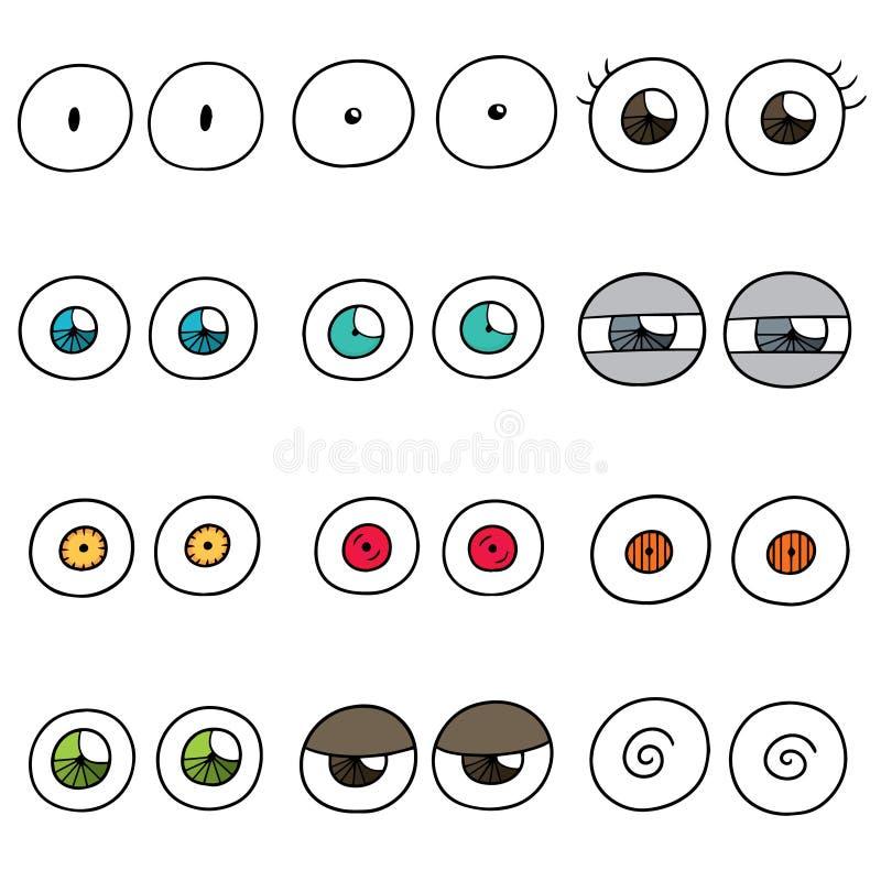 Vector set of eyes. Hand drawn cartoon, doodle illustration royalty free illustration
