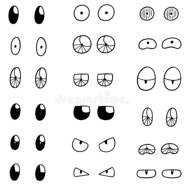 Vector set of eyes. Hand drawn cartoon, doodle illustration stock illustration
