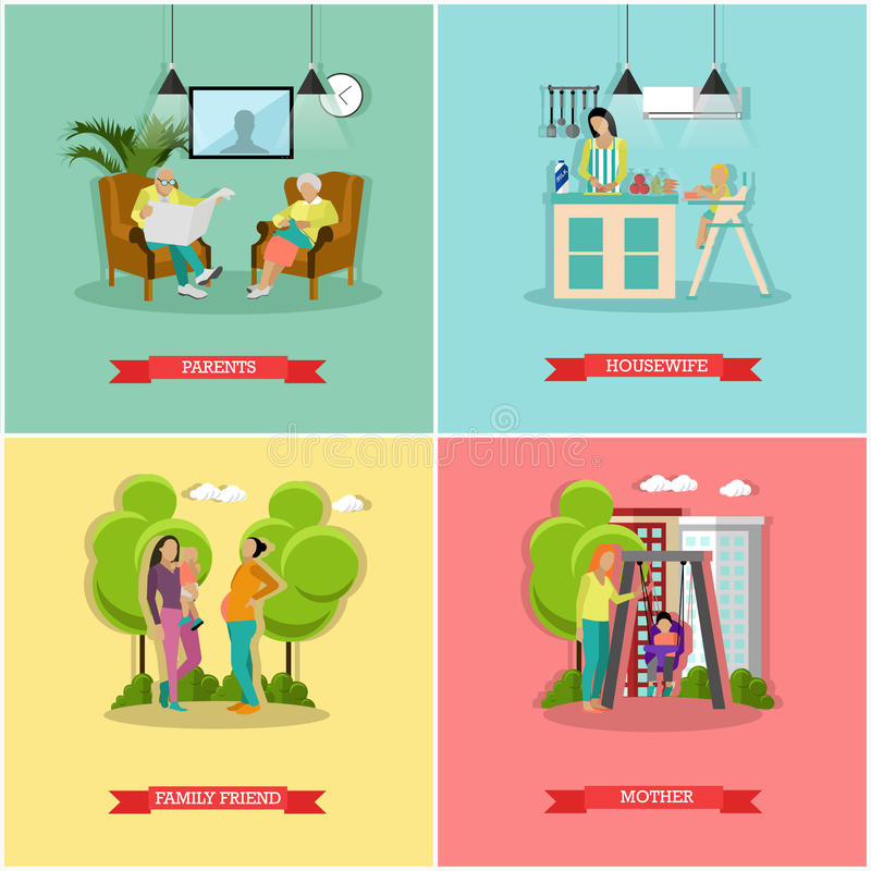 Vector set of family and housewife concept banners, posters. Parents, mother, child, family friend, housewife design elements in flat style royalty free illustration