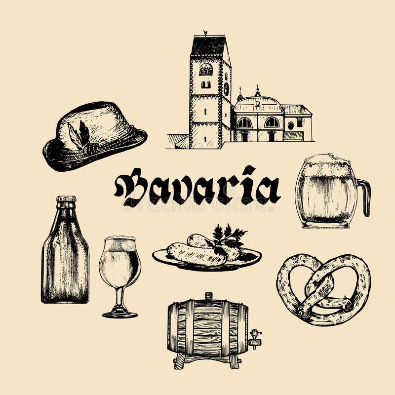 Vector set of famous bavarian symbols.Hand drawn german cuisine and beer icons.Oktoberfest illustrations.Wiesn or signs. Vector set of famous bavarian symbols vector illustration
