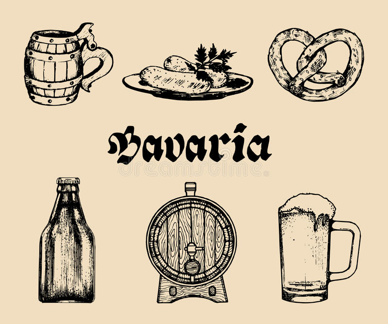 Vector set of famous bavarian symbols.Hand drawn german cuisine and beer icons.Oktoberfest illustrations.Wiesn or signs. Vector set of famous bavarian symbols royalty free illustration