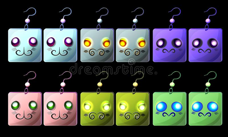 Vector set of fantasy colorful cartoon earrings. With character`s face; fantasy cartoon smiles on earrings; isolate earrings icons; fantasy game icons; jewelry vector illustration